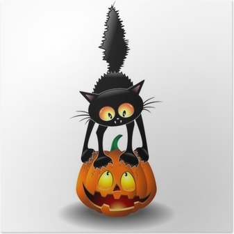 poster-spaventato-halloween-cat-cartoon-grattandosi-una-zucca.jpg